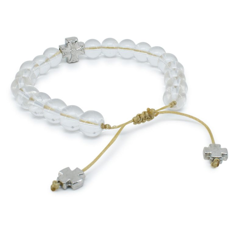 Genuine Crystal Quartz Stone Prayer Bracelet