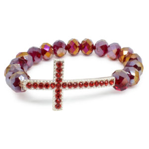"Red Glass Prayer Bracelet With Big Cross ""Hera""-0"