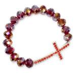 "Awesome Red Glass Prayer Bracelet With Big Cross ""Hera"""