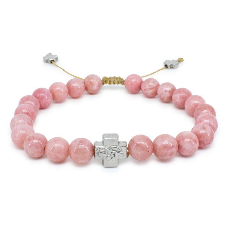 Rose Candy Jade Stone Prayer Bracelet-0