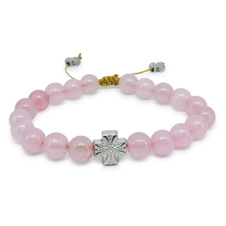 Delightful Rose Quartz Stone Prayer Bracelet