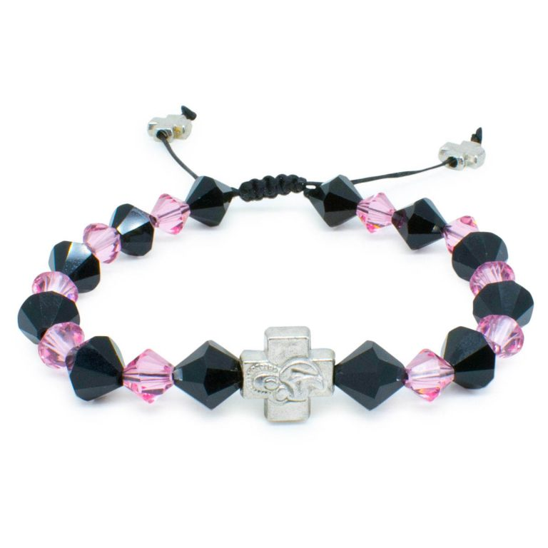 "Swarovski Crystal Prayer Bracelet ""Black Velvet""-0"