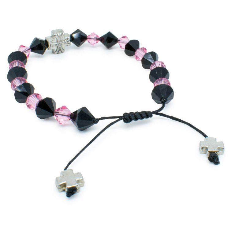 "Swarovski Crystal Prayer Bracelet ""Black Velvet""-445"