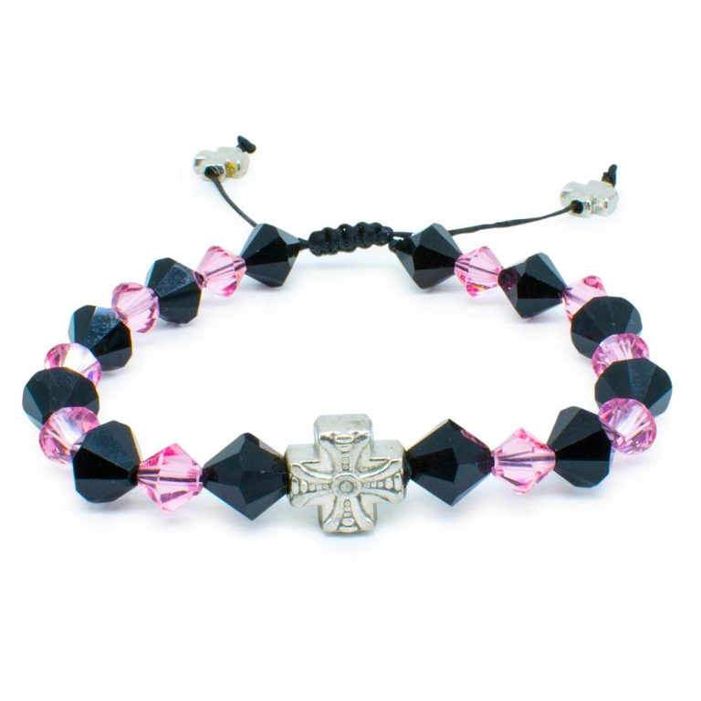 "Swarovski Crystal Prayer Bracelet ""Black Velvet""-446"