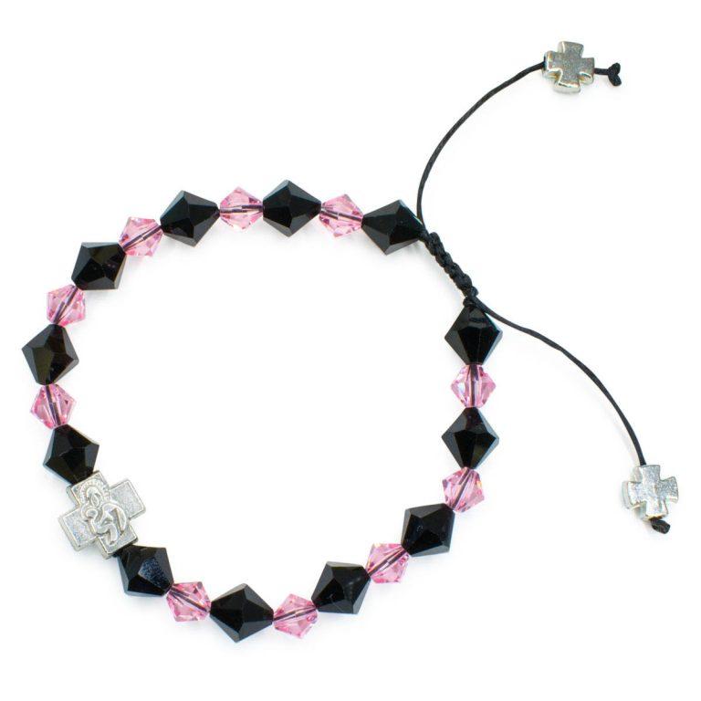 "Swarovski Crystal Prayer Bracelet ""Black Velvet""-448"