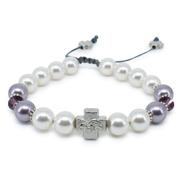 "Swarovski Pearl and Crystal Prayer Bracelet ""Elena""-0"