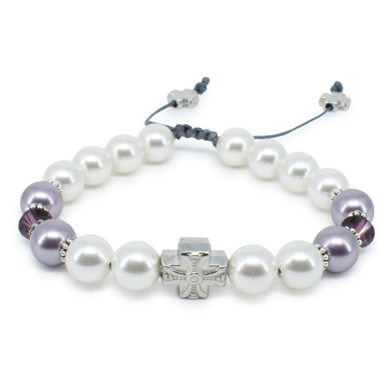 "Swarovski Pearl and Crystal Prayer Bracelet ""Elena"""