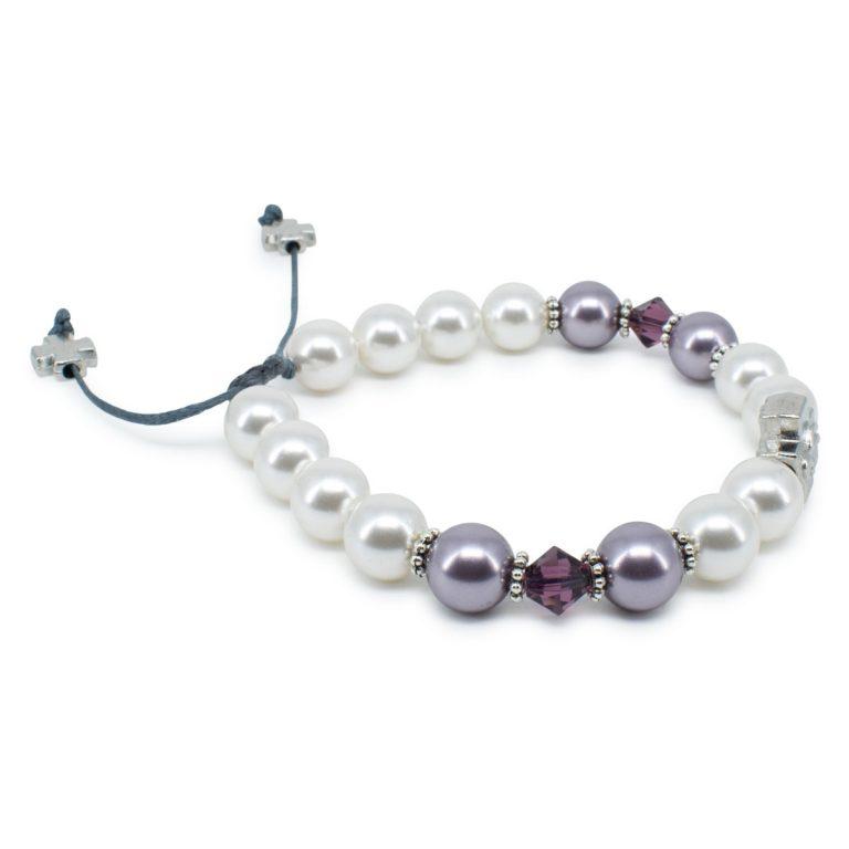 "Swarovski Pearl and Crystal Prayer Bracelet ""Elena"""