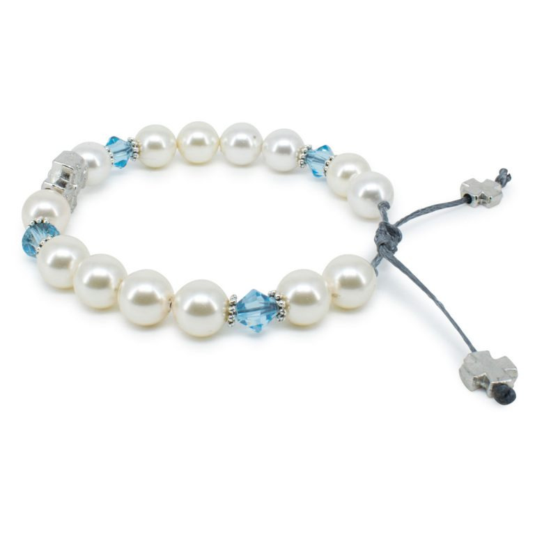 "Amazing Swarovski Pearl and Crystal Prayer Bracelet ""Eve"""