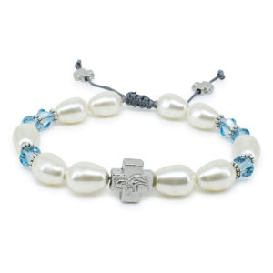 "Swarovski Pearl and Crystal Prayer Bracelet ""Sophie""-0"