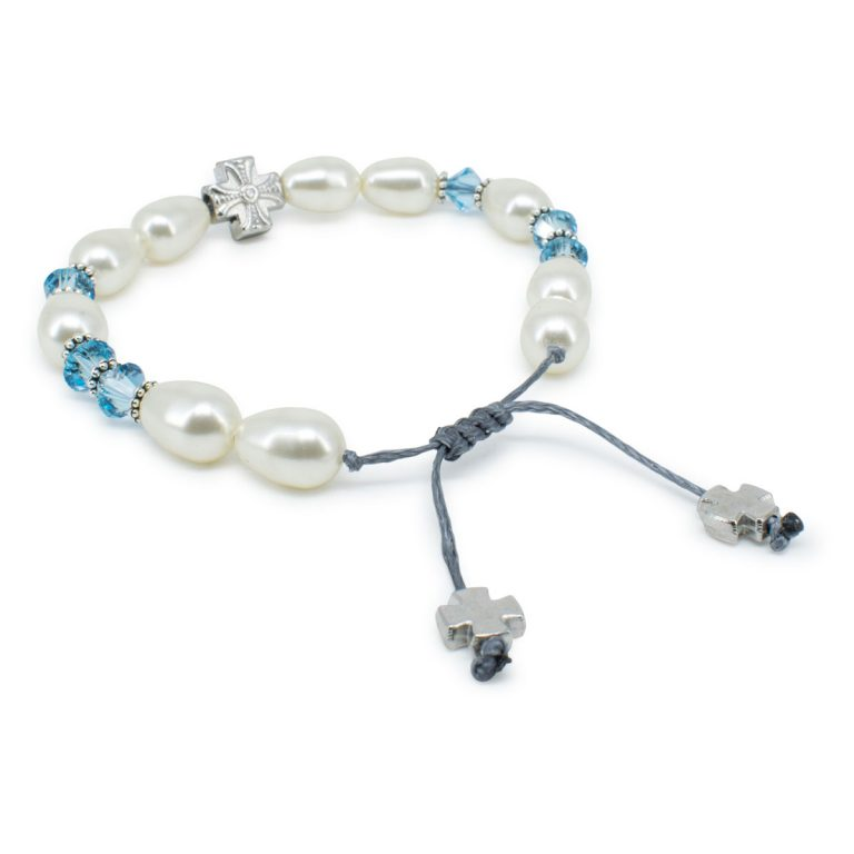 "Fine Swarovski Pearl and Crystal Prayer Bracelet ""Sophie"""