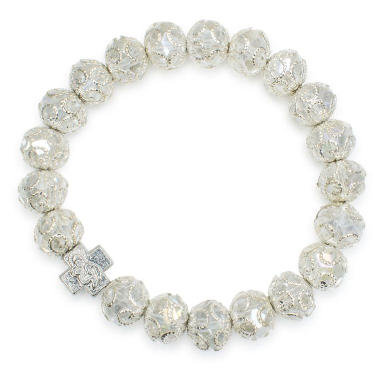 "Marvellous White Glass Prayer Bracelet ""Delila"""