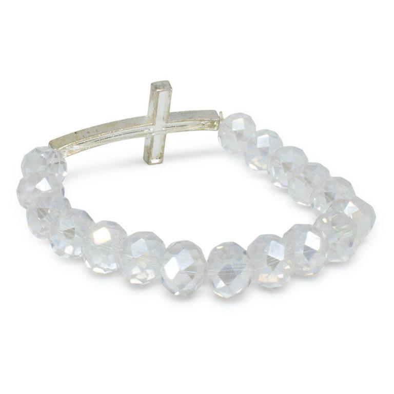 "Extraordinary White Glass Prayer Bracelet ""Megan"" With Big Cross"