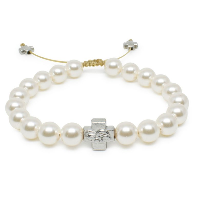 White Swarovski Pearl Prayer Bracelet-0