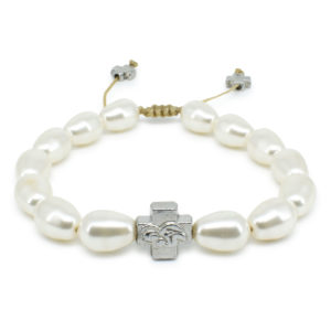 White Swarovski Teardrop Pearl Prayer Bracelet-0