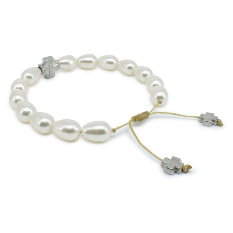 Captivating White Swarovski Teardrop Pearl Prayer Bracelet